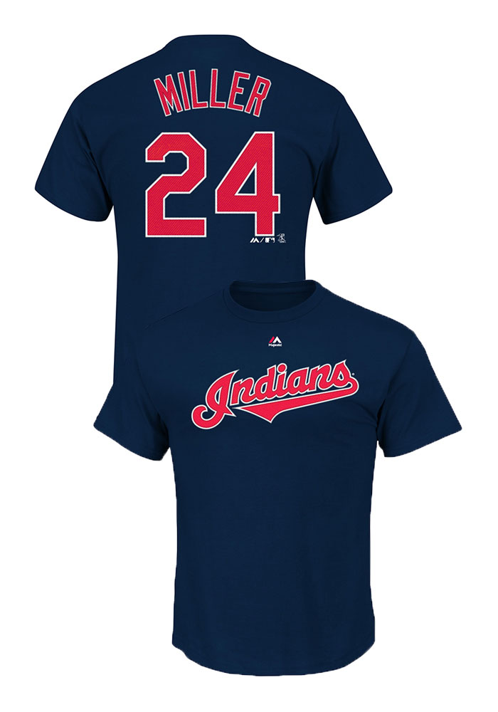 buy popular 0cfb2 b3b2d Andrew Miller Cleveland Indians Navy Blue Short Sleeve Player T Shirt