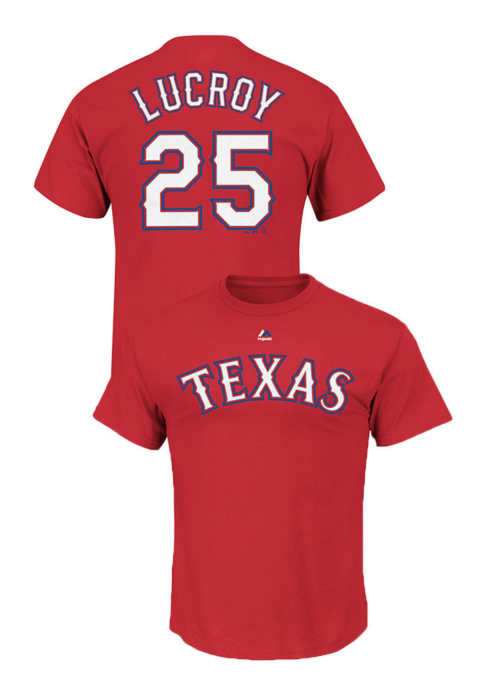 Jonathan Lucroy Texas Rangers Mens Red Name and number Short Sleeve Player T Shirt - Image 1