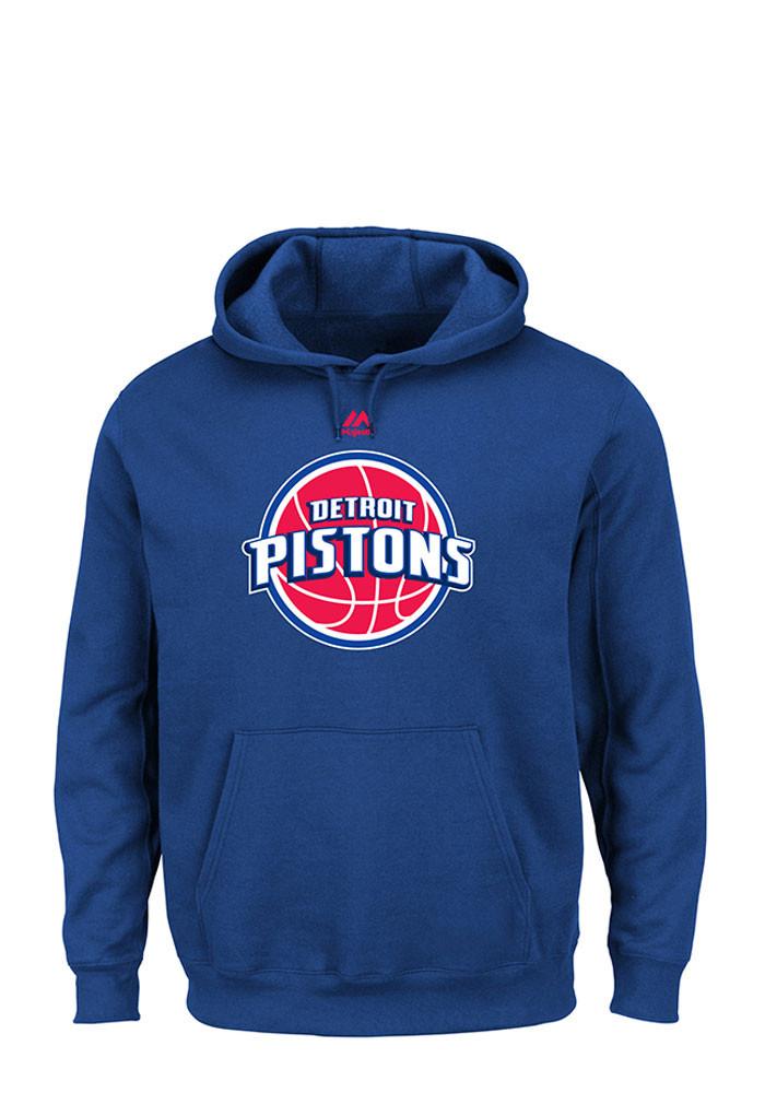 Majestic Detroit Pistons Mens Blue Logo Long Sleeve Hoodie - Image 1