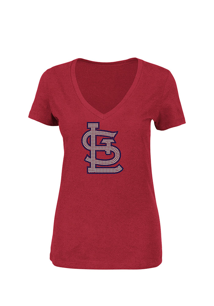 Majestic St Louis Cardinals Womens Red Dream OF Diamonds V-Neck T-Shirt - Image 1