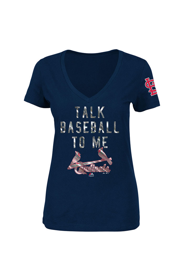 Majestic St Louis Cardinals Womens Navy Blue Extraordinary Achievement V-Neck T-Shirt - Image 1