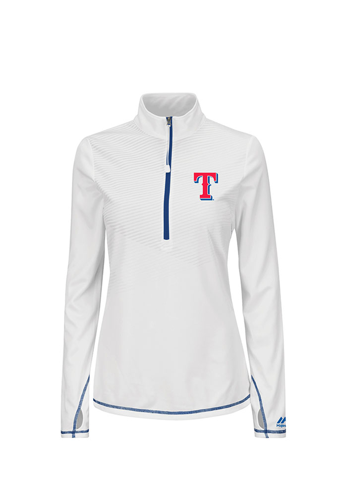Majestic Texas Rangers Womens White Athletic Concept 1/4 Zip Pullover - Image 1
