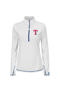 Majestic Texas Rangers Womens Athletic Concept White 1/4 Zip Pullover