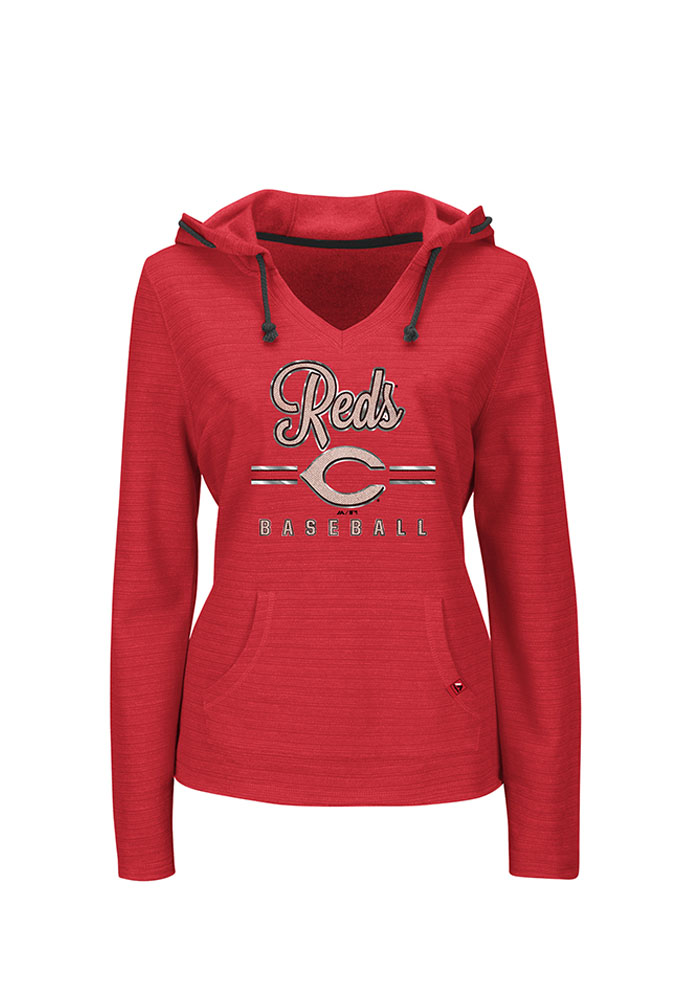 new concept a76fc 4655c Majestic Cincinnati Reds Womens Red Chase the Dream Hooded Sweatshirt