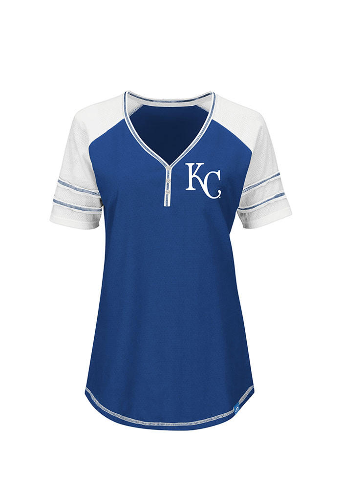 Majestic Kansas City Royals Womens Blue Believe in the Game V-Neck T-Shirt - Image 1