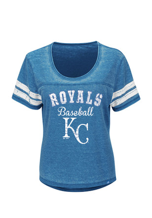 Majestic KC Royals Womens Loving the Game Blue Scoop T-Shirt