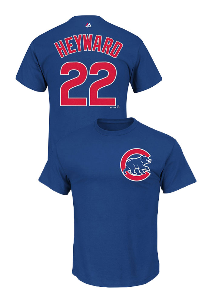 Jason Heyward Chicago Cubs Mens Blue Name and Number Short Sleeve Player T Shirt - Image 1