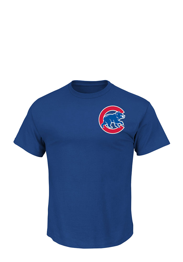Anthony Rizzo Chicago Cubs Mens Blue Name and Number Short Sleeve Player T Shirt - Image 2