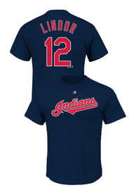 Francisco Lindor Cleveland Indians Navy Blue Name and Number Tee