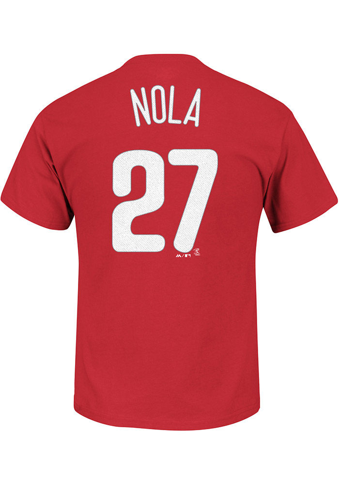 Aaron Nola Philadelphia Phillies Red Name and Number Short Sleeve Player T Shirt - Image 1