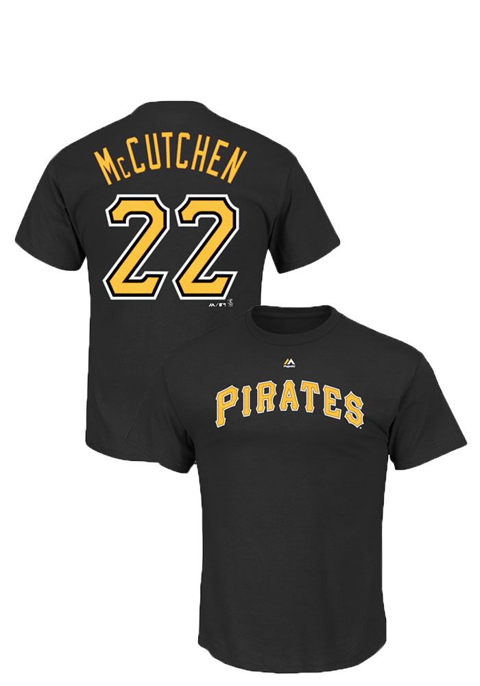 Andrew McCutchen Pittsburgh Pirates Mens Black Name and Number Short Sleeve Player T Shirt - Image 1