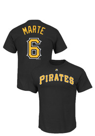 Starling Marte Pittsburgh Pirates Black Name and Number Player Tee