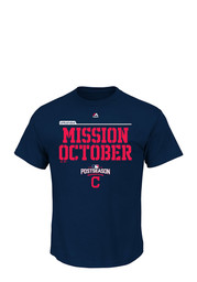 Majestic Cleveland Indians Mens Navy Blue Mission October Tee