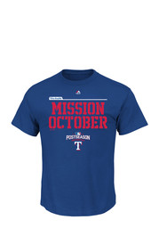 Majestic Texas Rangers Mens Blue Mission October Tee