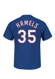 Cole Hamels Texas Rangers Blue Name and Number Player Tee