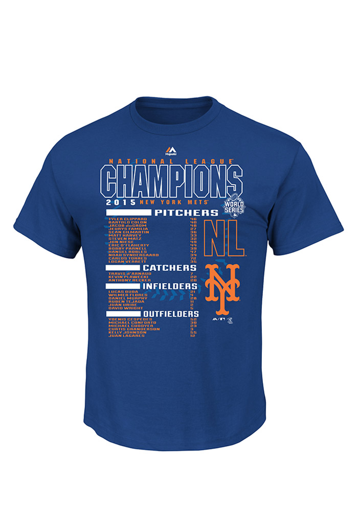New York Mets Royal 2015 NL Champs The Finest Roster T-Shirt - Image 1