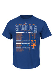 NY Mets Mens Royal 2015 NL Champs The Finest Roster Tee