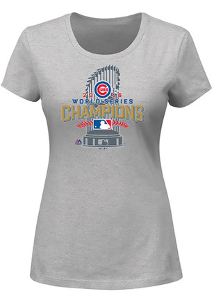 Majestic Chicago Cubs Womens Locker Room Grey T-Shirt