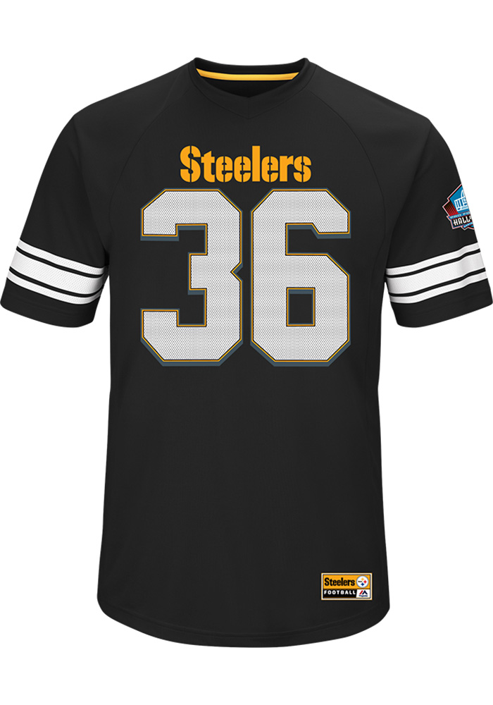 c663126daf8 ... usa jerome bettis pittsburgh steelers black hashmark short sleeve  fashion player t shirt image 2 1b2c5