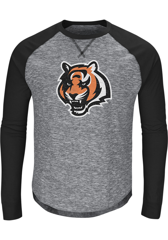 Majestic Cincinnati Bengals Grey Corner Blitz Long Sleeve Fashion T Shirt - Image 1