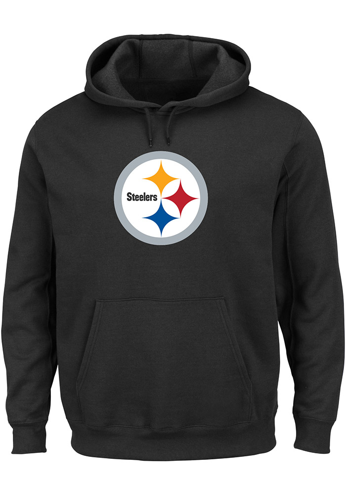 Majestic Pittsburgh Steelers Mens Black Tek Patch Long Sleeve Hoodie, Black, 100% COTTON, Size XL