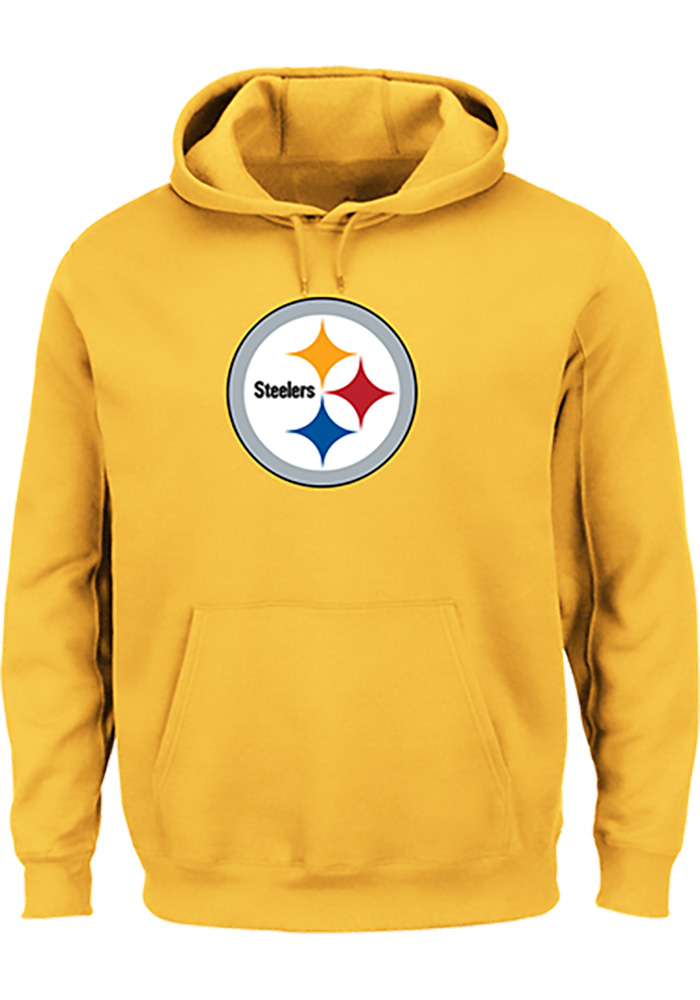 Majestic Pittsburgh Steelers Mens Gold Tek Patch Long Sleeve Hoodie, Gold, 100% COTTON, Size XL