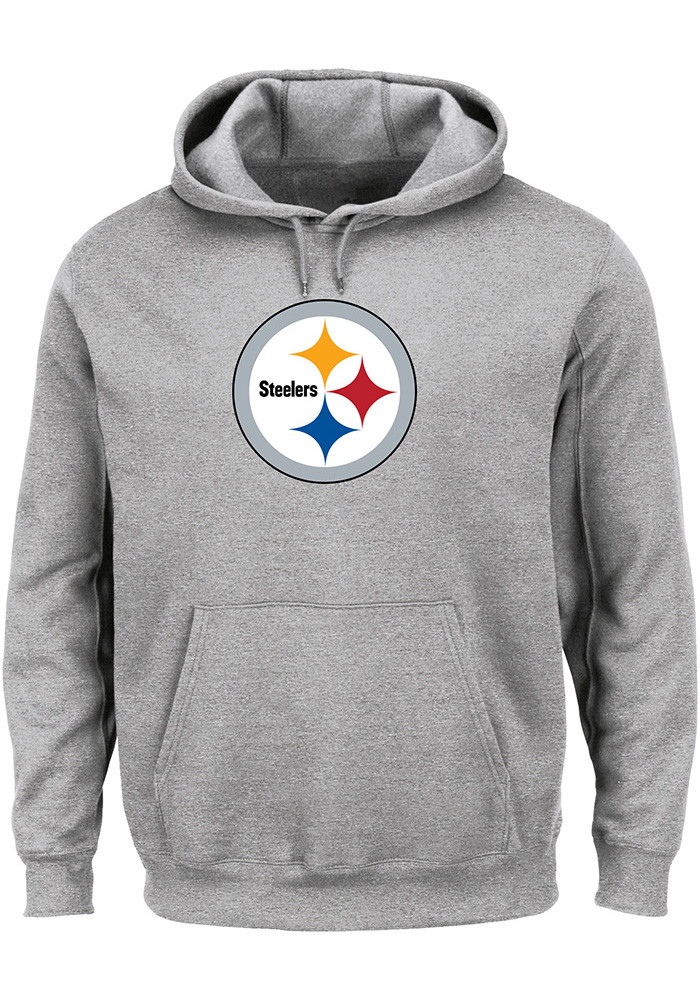 Majestic Pittsburgh Steelers Mens Grey Tek Patch Long Sleeve Hoodie - Image  1 a05e9b1dd