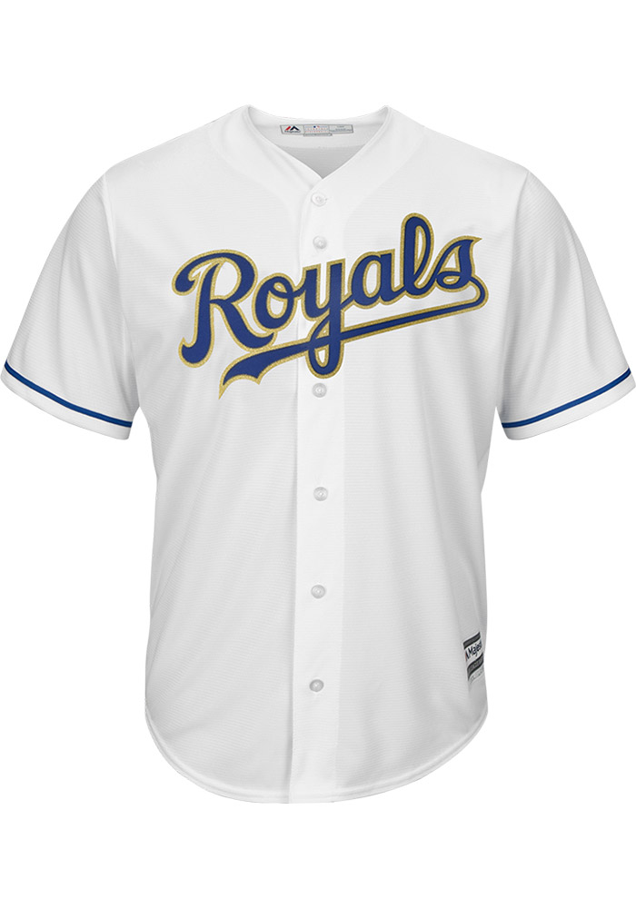 Kansas City Royals Mens Majestic Replica Cool Base 2017 Alternate Gold Jersey - White - Image 1