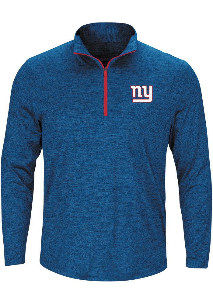 Majestic New York Giants Mens Grey Intimidating Long Sleeve 1/4 Zip Pullover - Image 1