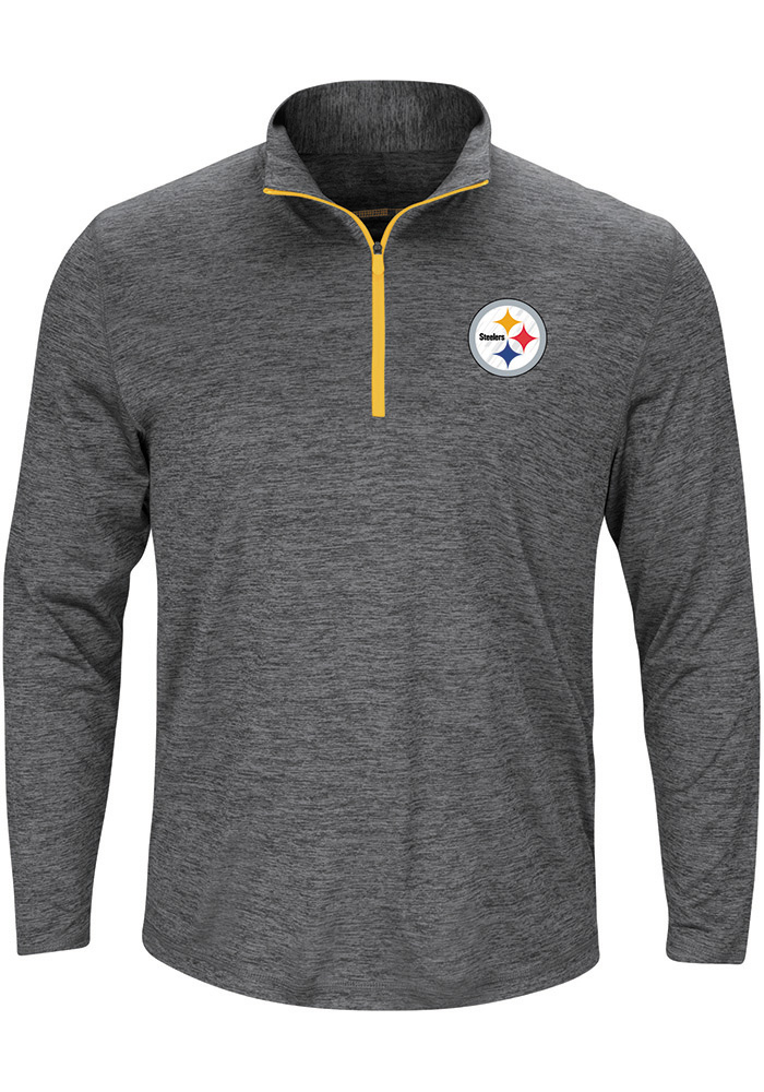 Majestic Pittsburgh Steelers Mens Grey Intimidating Long Sleeve 1/4 Zip Pullover, Grey, 100% POLYESTER, Size L
