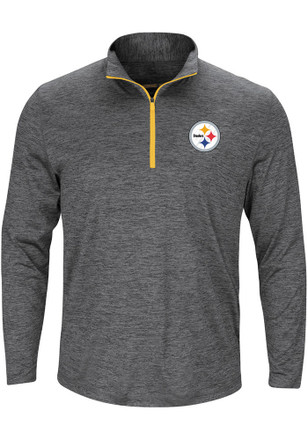 Majestic Pittsburgh Steelers Mens Grey Intimidating 1/4 Zip Pullover