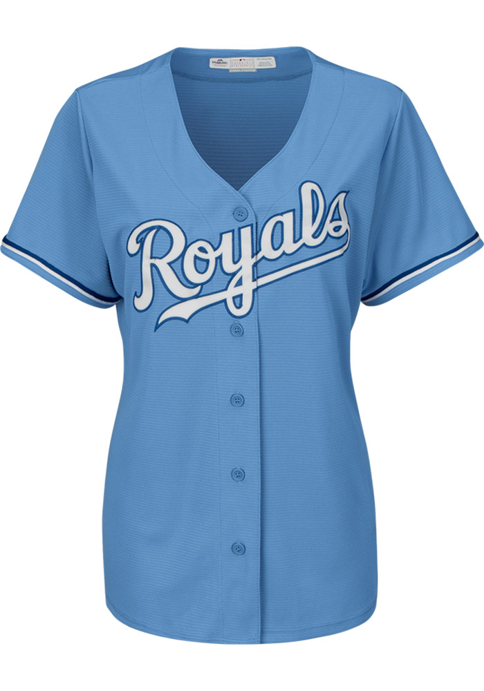 Salvador Perez Kansas City Royals Womens Replica Cool Base Jersey - Light Blue - Image 2