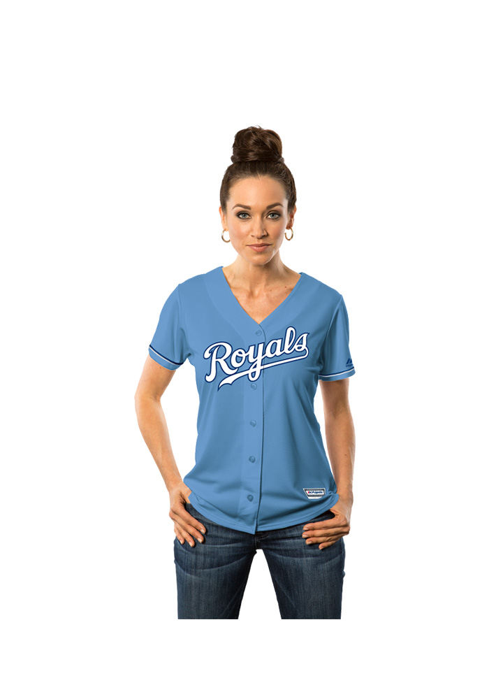 Salvador Perez Kansas City Royals Womens Replica Cool Base Jersey - Light Blue - Image 3