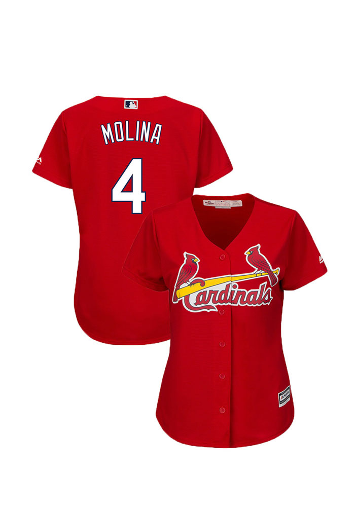 Yadier Molina St Louis Cardinals Womens Replica Cool Base Jersey Jersey - Red - Image 2