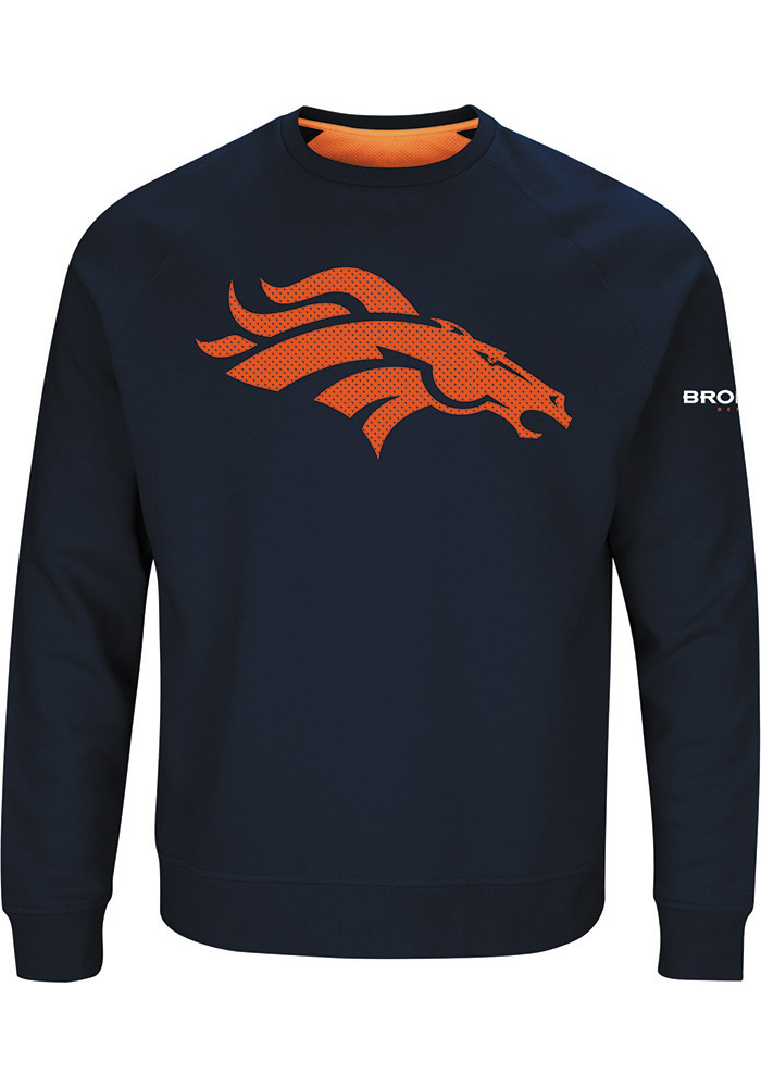 Majestic Denver Broncos Mens Navy Blue Classic Long Sleeve Crew Sweatshirt - Image 1