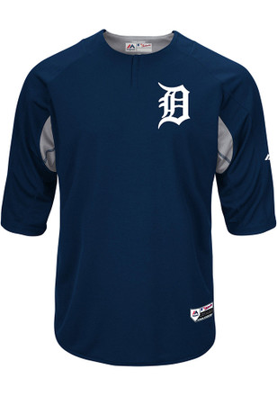 Majestic Detroit Tigers Mens Navy Blue On-Field 3/4 BP Trainer Pullover