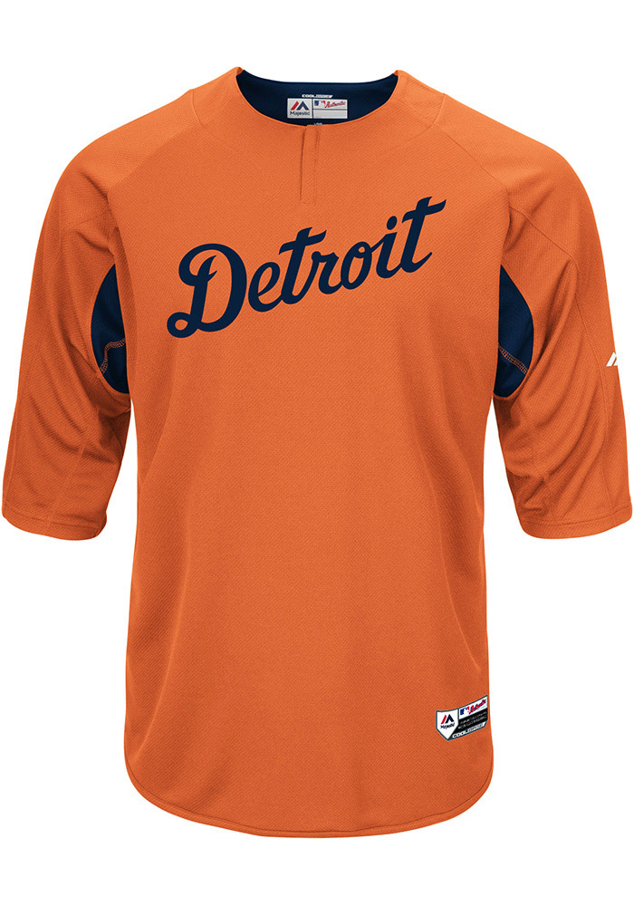 Majestic Detroit Tigers Mens Orange On-Field 3/4 BP Trainer Pullover Jackets - Image 1