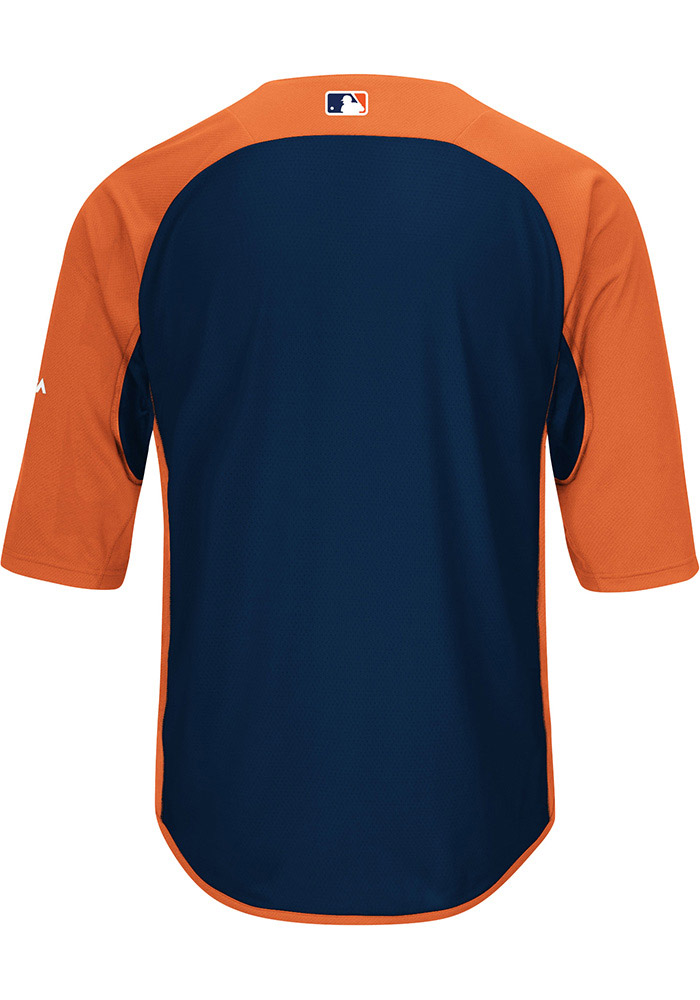 Majestic Detroit Tigers Mens Orange On-Field 3/4 BP Trainer Pullover Jackets - Image 2