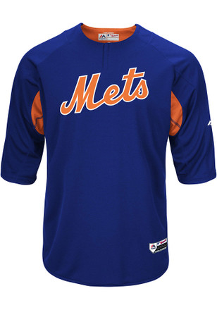 Majestic NY Mets Mens Blue On-Field 3/4 BP Trainer Pullover