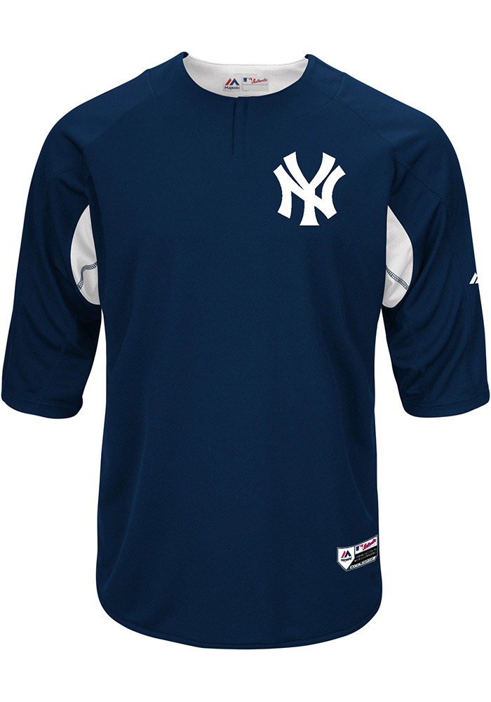Majestic New York Yankees Mens Navy Blue On-Field 3/4 BP Trainer Pullover Jackets - Image 1