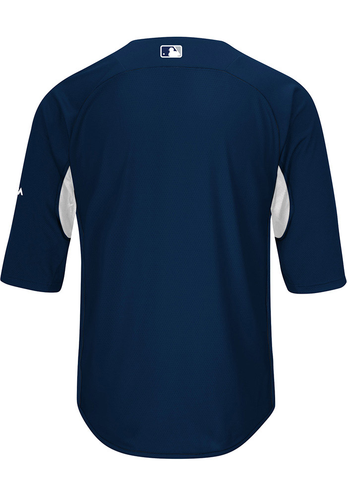 Majestic New York Yankees Mens Navy Blue On-Field 3/4 BP Trainer Pullover Jackets - Image 2