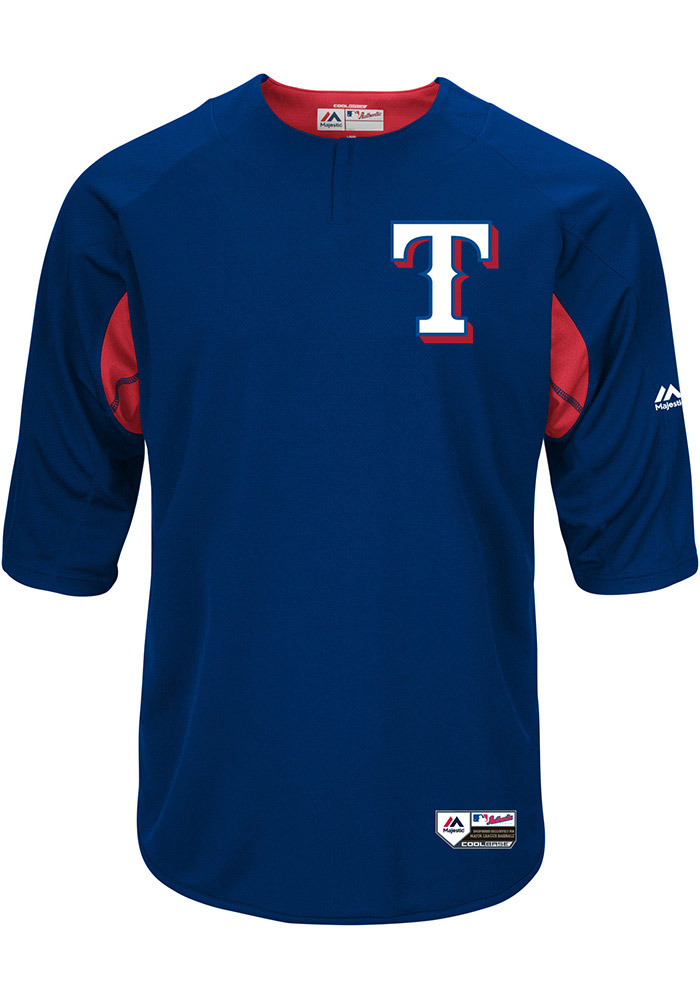 sports shoes 5f428 f506b Texas Rangers Mens Majestic Batting Practice Jersey - Blue