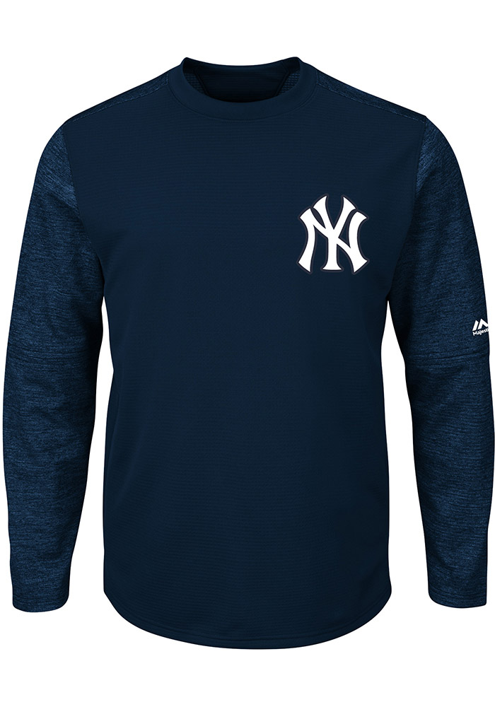 Majestic New York Yankees Mens Navy Blue On-Field Tech Long Sleeve Crew Sweatshirt - Image 1
