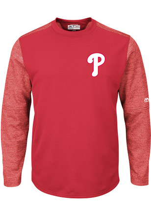Majestic Philadelphia Phillies Mens Red On-Field Tech Sweatshirt