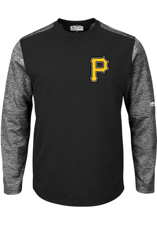 Majestic Pittsburgh Pirates Mens Black On-Field Tech Sweatshirt