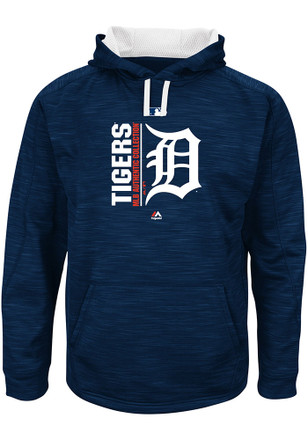 Majestic Detroit Tigers Mens Navy Blue On-Field Team Icon Streak Fleece Hoodie