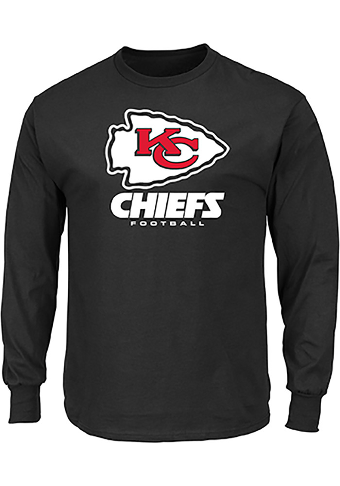 Majestic Kansas City Chiefs Black Critical Victory III Long Sleeve T Shirt - Image 1