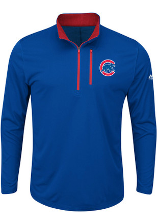 Majestic Chicago Cubs Mens Blue Six Four Three 1/4 Zip Performance Pullover
