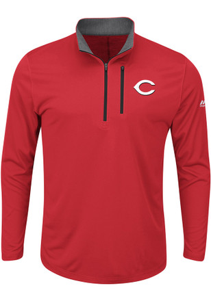 Majestic Cincinnati Reds Mens Red Six Four Three 1/4 Zip Performance Pullover