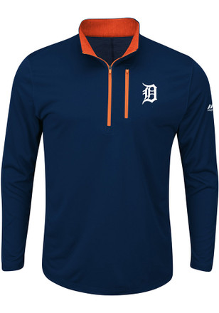 Majestic Detroit Tigers Mens Navy Blue Six Four Three 1/4 Zip Performance Pullover